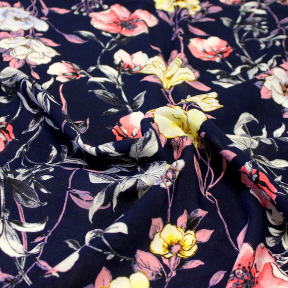 Navy Blue Pink and Yellow Floral Rayon Challis, 1 yard