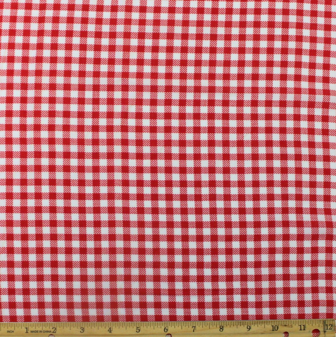 Red and White Check Gingham Rayon Challis, 1 yard - Raspberry Creek Fabrics