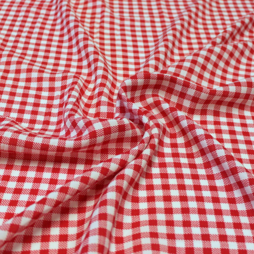 Red and White Check Gingham Rayon Challis - Raspberry Creek Fabrics
