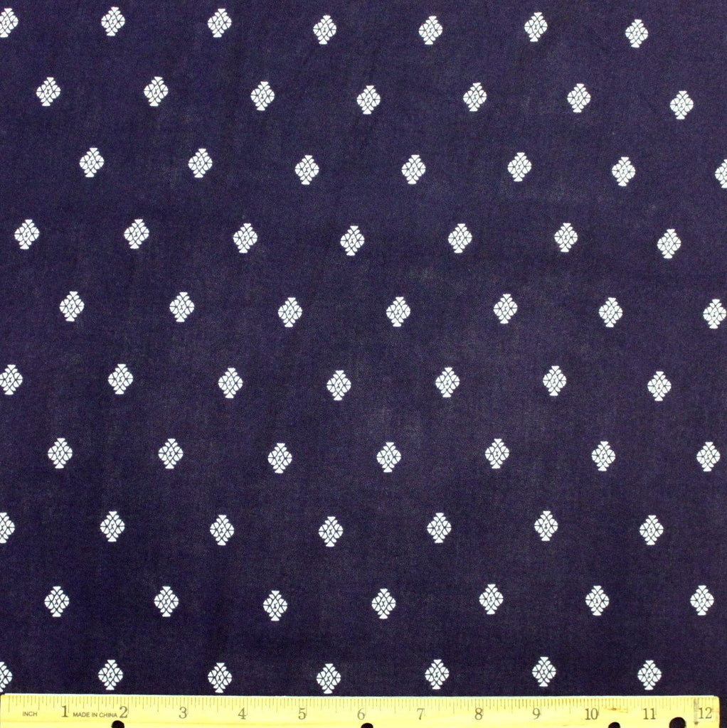 Navy and White Geometric Diamond Fleur Rayon Challis, 1 yard - Raspberry Creek Fabrics