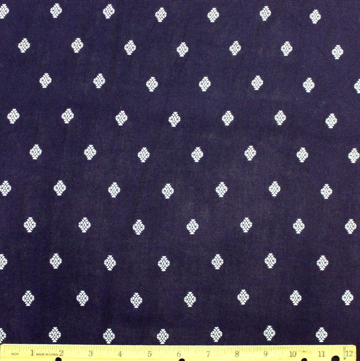 Navy and White Geometric Diamond Fleur Rayon Challis, 1 yard