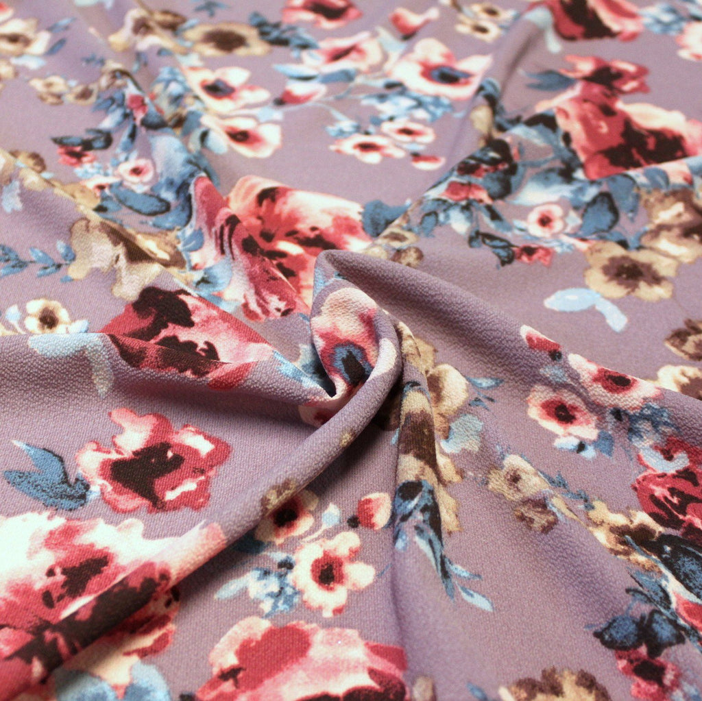 Mauve Pink Blue and Beige Bubble Crepe - Raspberry Creek Fabrics