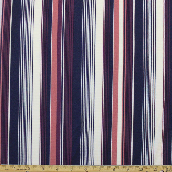 Navy Purple Mauve and Cream Vertical Stripe Bubble Crepe, 1 yard
