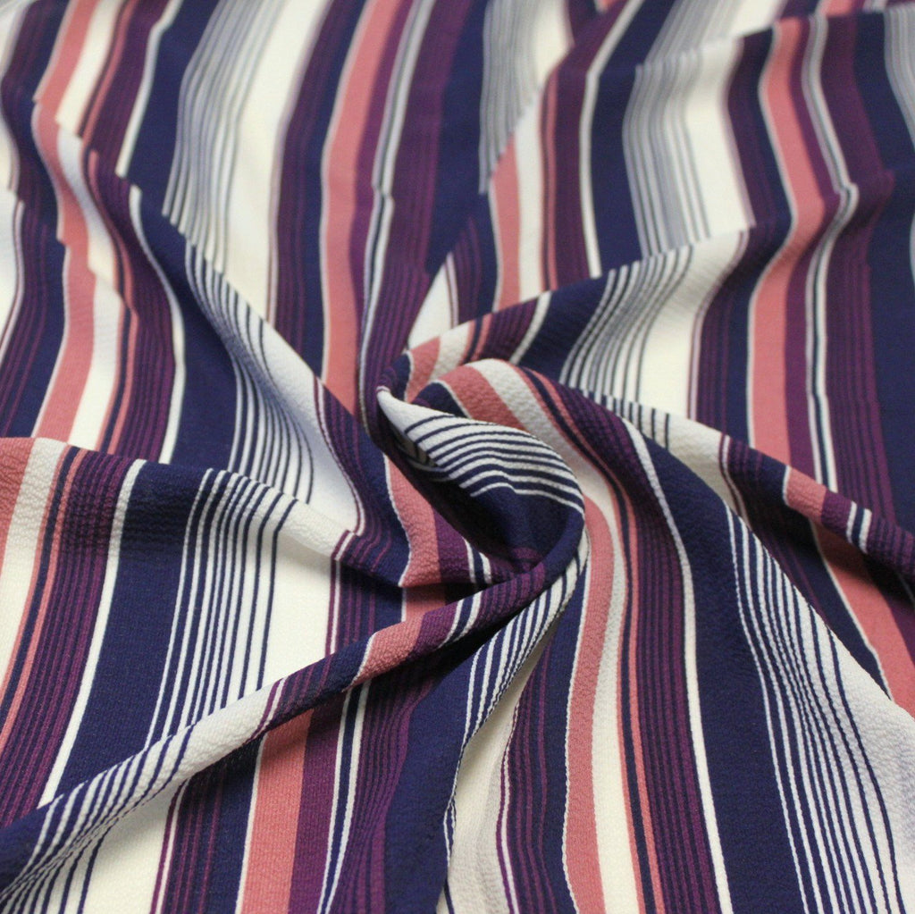 Navy Purple Mauve and Cream Vertical Stripe Bubble Crepe - Raspberry Creek Fabrics