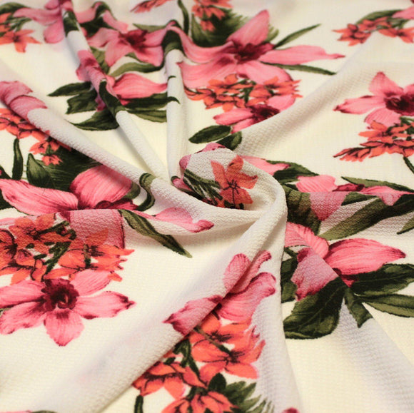 Cream Magenta Coral and Green Tropical Floral Bubble Crepe - Raspberry Creek Fabrics
