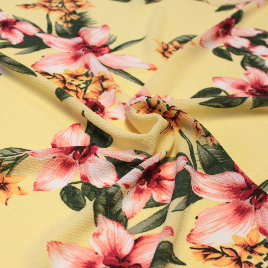 Yellow Pink Fuchsia and Green Tropical Floral Bubble Crepe - Raspberry Creek Fabrics