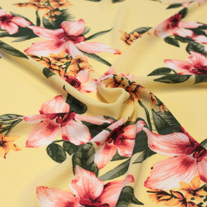 Yellow Pink Fuchsia and Green Tropical Floral Bubble Crepe - Raspberry Creek Fabrics Knit Fabric