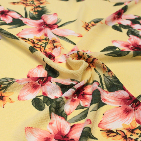 Yellow Pink Fuchsia and Green Tropical Floral Bubble Crepe, 1 yard - Raspberry Creek Fabrics
