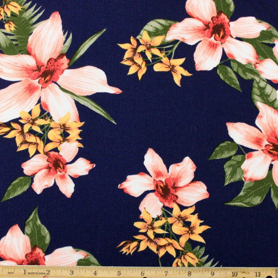 Navy Coral Salmon Yellow and Green Tropical Floral Bubble Crepe - Raspberry Creek Fabrics