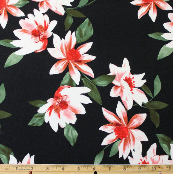 Black White Mauve and Green Tropical Floral Double Brushed Poly, 1 Yard - Raspberry Creek Fabrics
