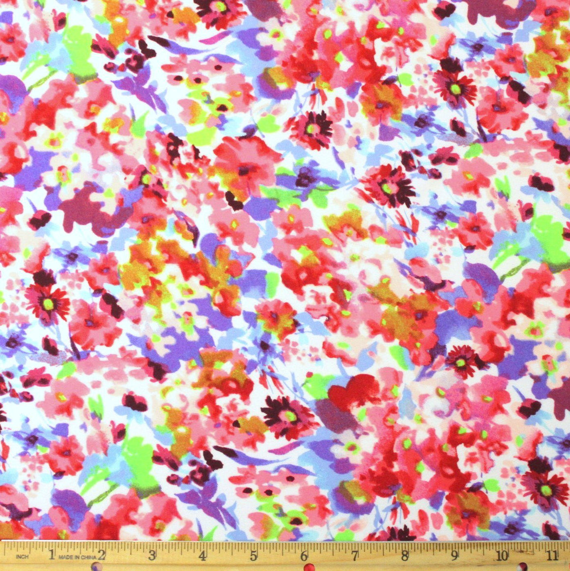 Neon Pink Green Purple and Burgundy Floral Double Brushed Poly, 1 Yard - Raspberry Creek Fabrics