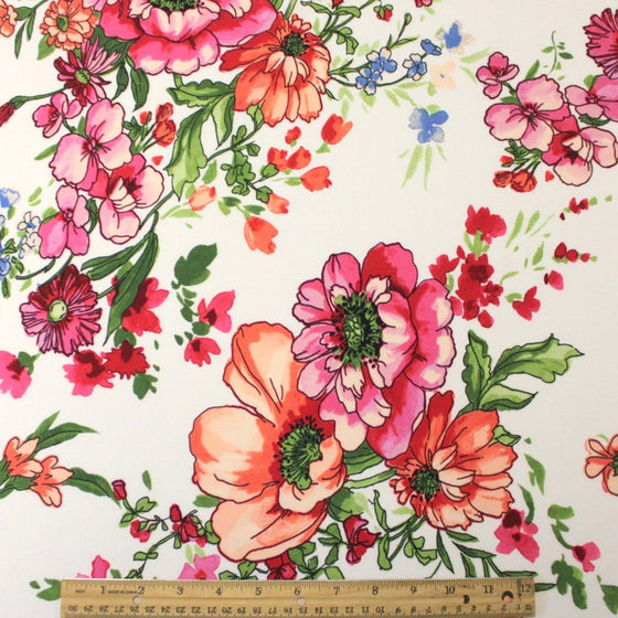 Fuchsia Peach Periwinkle Green and Cream Large Floral Double Brushed Poly, 1 Yard