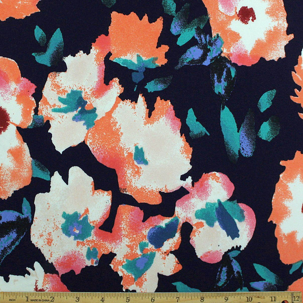 Navy Teal Coral Periwinkle and Burgundy Painted Floral Double Brushed Poly Spandex Knit, 1 yard - Raspberry Creek Fabrics