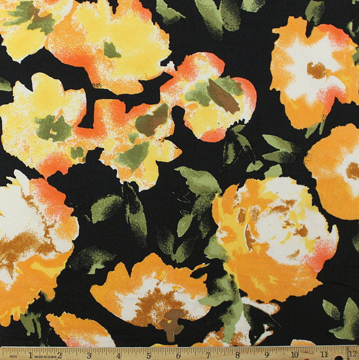 Black Mustard Orange and Olive Painted Floral Double Brushed Poly Spandex Knit, 1 yard - Raspberry Creek Fabrics