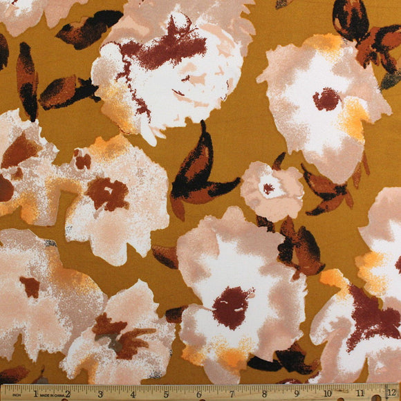 Tonal Mustard Taupe Brown and Cream Painted Floral Double Brushed Poly Spandex Knit, 1 yard - Raspberry Creek Fabrics