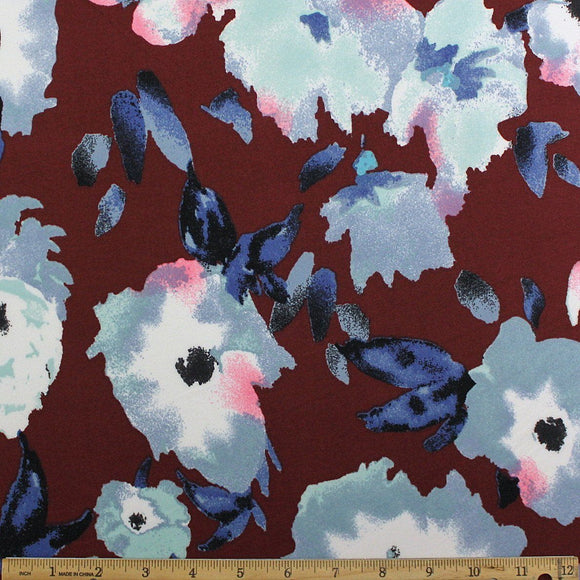 Burgundy Navy Light Blue and Aqua Painted Floral Double Brushed Poly Spandex Knit, 1 yard - Raspberry Creek Fabrics
