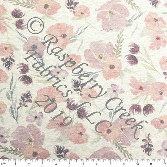 Eggplant Mauve Sage and Lilac Pale Faded Look Floral on Oatmeal 4 Way Stretch French Terry Knit Fabric, PRE-ORDER FEB 2020 - Raspberry Creek Fabrics