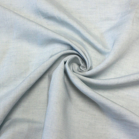 Light Blue and White Yarn Dyed Vertical Pin Stripe Light to Medium Weight Italian Rayon Linen - Raspberry Creek Fabrics