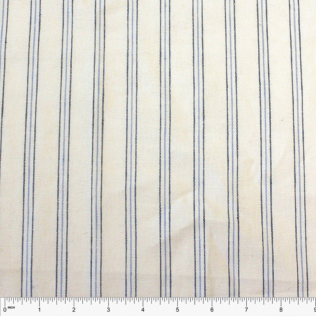 Cream Light Blue and Navy Yarn Dyed Vertical Pin Stripe Medium Weight Cotton Linen - Raspberry Creek Fabrics Knit Fabric