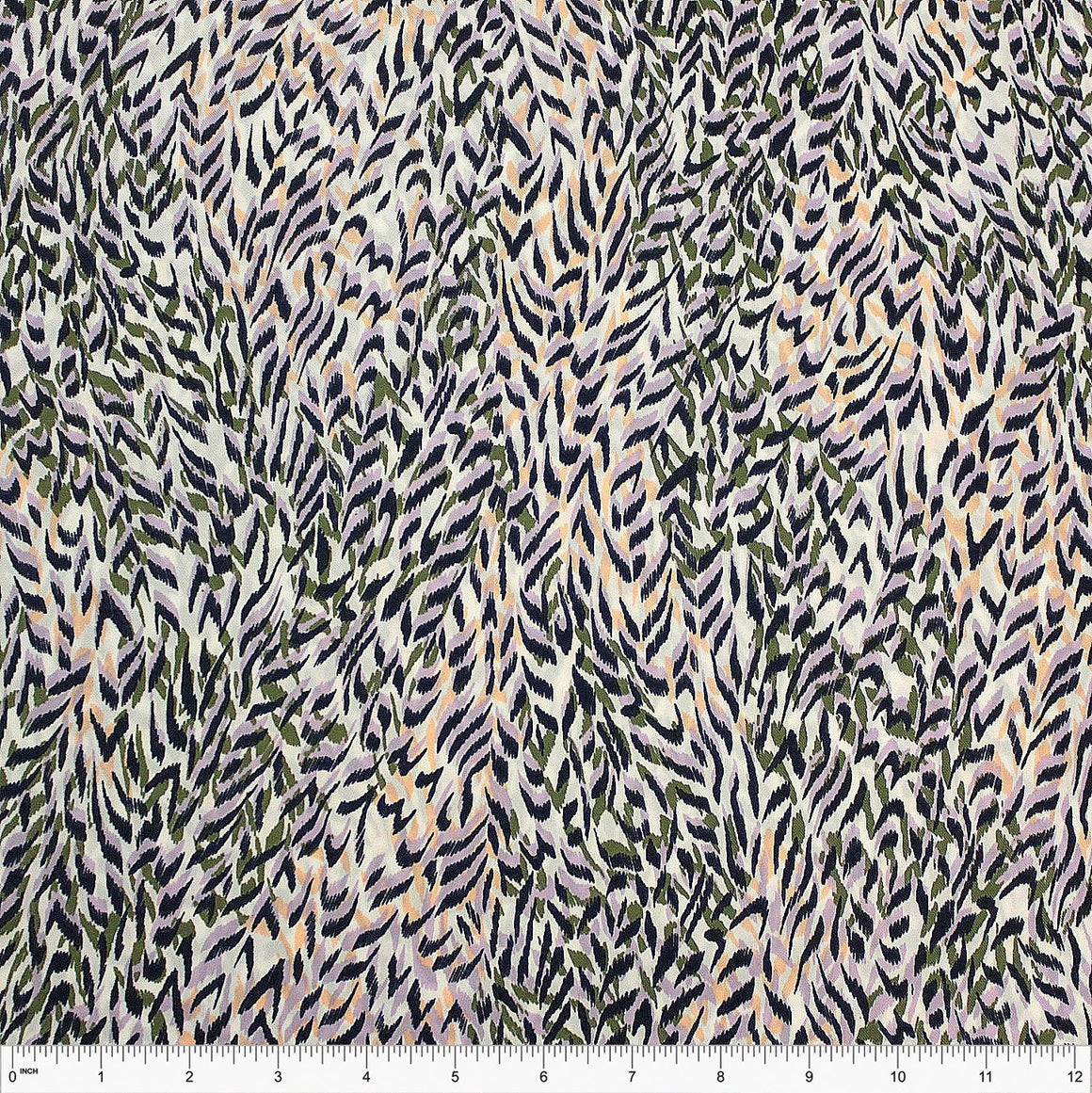 Lilac Olive Peach Navy and White Abstract Leaf Rayon Challis - Raspberry Creek Fabrics