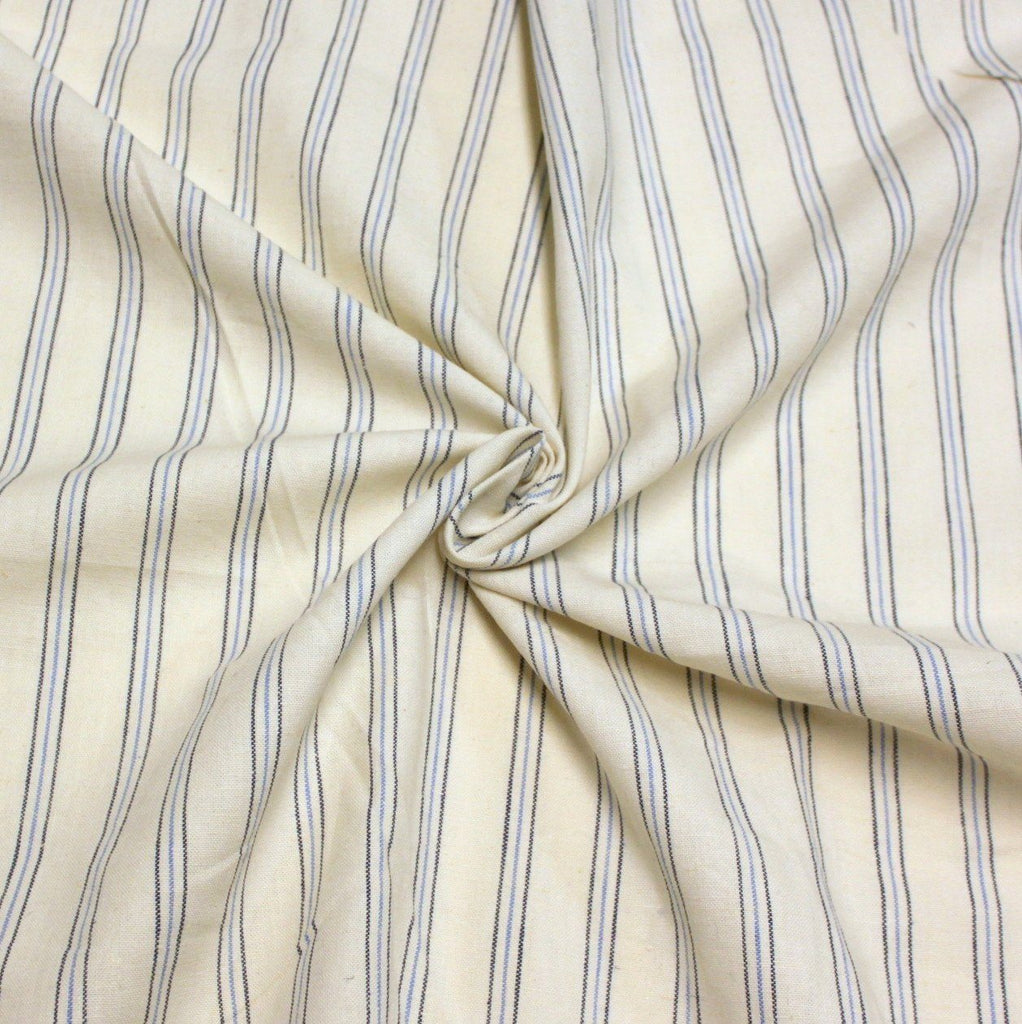 Cream Light Blue and Navy Yarn Dyed Vertical Pin Stripe Medium Weight Cotton Linen - Raspberry Creek Fabrics
