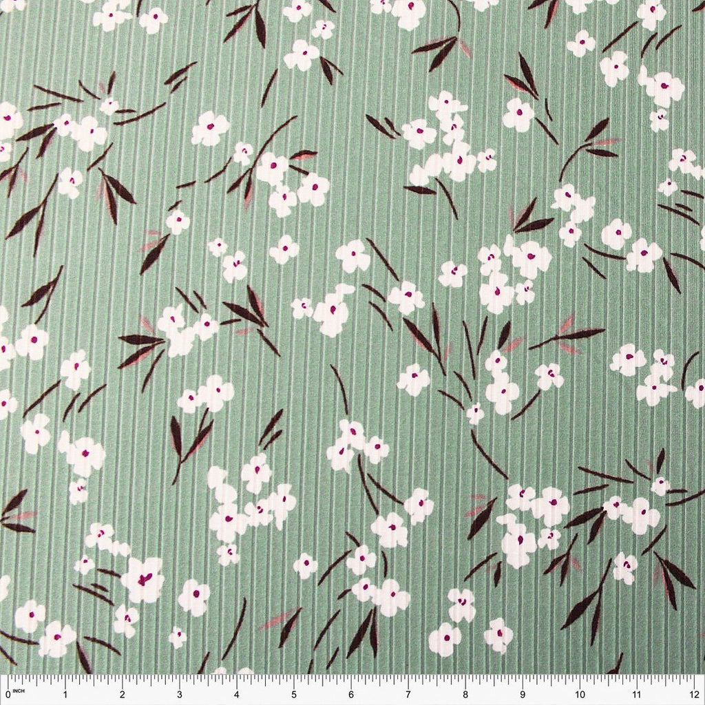 Sage Brown Burgundy and White Floral Poly Spandex 4 Way Stretch 8x3 Rib Knit - Raspberry Creek Fabrics