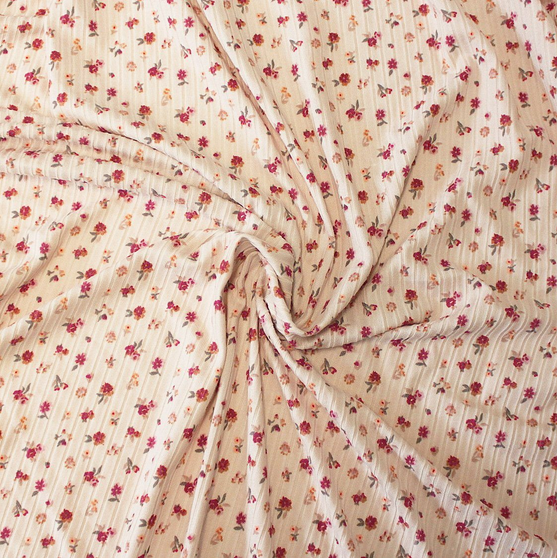 Pale Pink Burgundy and Taupe Small Floral Print Poly Spandex 4 Way Stretch 8x3 Rib Knit - Raspberry Creek Fabrics