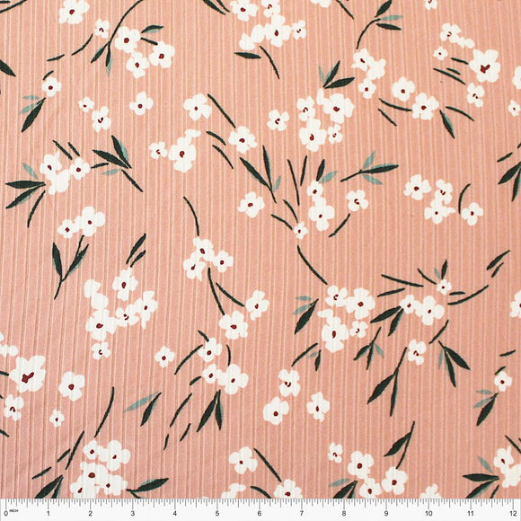 Dusty Pink Teal Sage and White Floral Poly Spandex 4 Way Stretch 8x3 Rib Knit - Raspberry Creek Fabrics