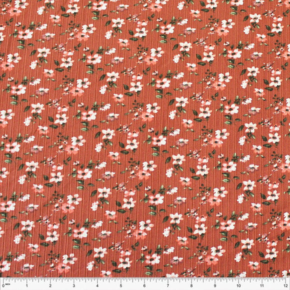 Rust Coral Olive and Sage Floral Print Poly Spandex 4 Way Stretch 8x3 Rib Knit - Raspberry Creek Fabrics