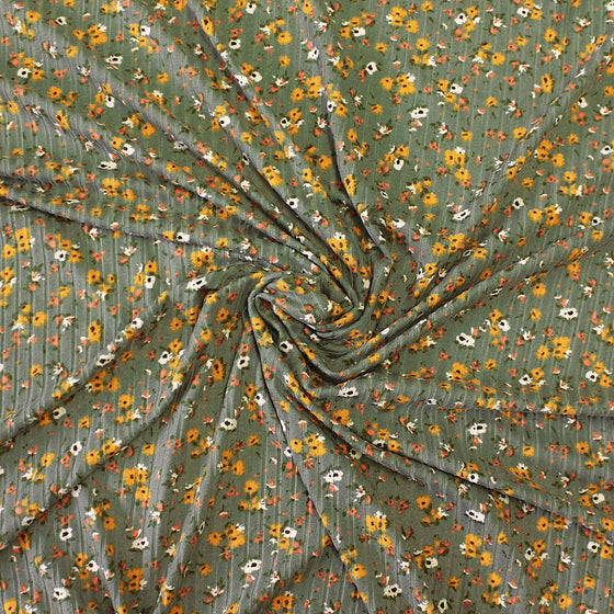 Light Olive Mustard and Salmon Floral Print Poly Spandex 4 Way Stretch 8x3 Rib Knit - Raspberry Creek Fabrics