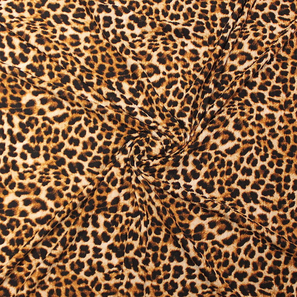 Cream Brown and Black Leopard Animal Print Poly Spandex 4 Way Stretch 8x3 Rib Knit - Raspberry Creek Fabrics