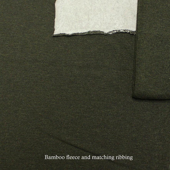 Heathered Moss Green Bamboo Cotton Spandex 4 Way Stretch 1x1 Ribbing - Raspberry Creek Fabrics