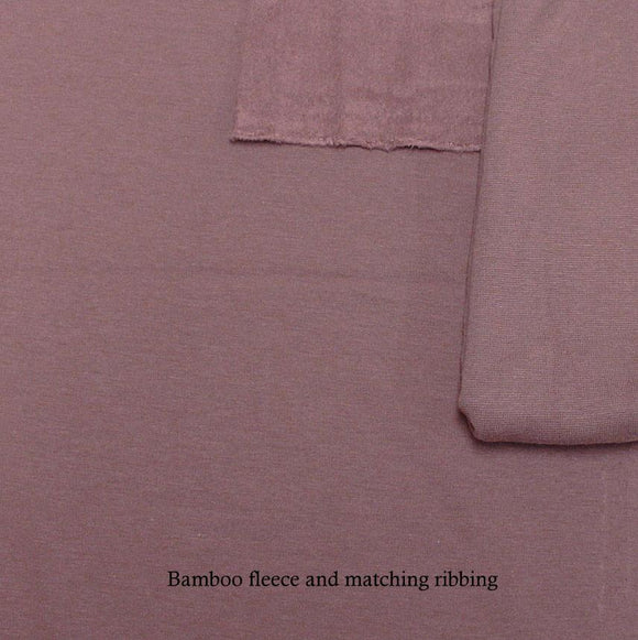 Deep Mauve Bamboo Cotton Spandex 4 Way Stretch 1x1 Ribbing - Raspberry Creek Fabrics