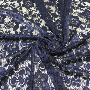 Navy Blue Floral Scallop Edge Nylon Spandex Stretch Lace - Raspberry Creek Fabrics Knit Fabric