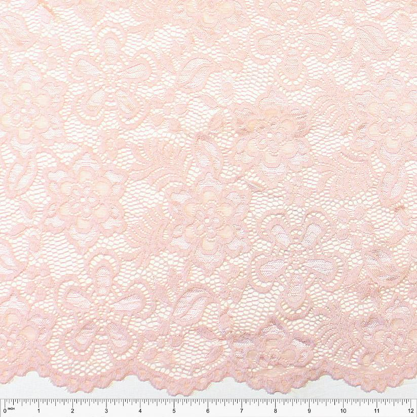 Dusty Pink Floral Scallop Edge Nylon Spandex Stretch Lace - Raspberry Creek Fabrics