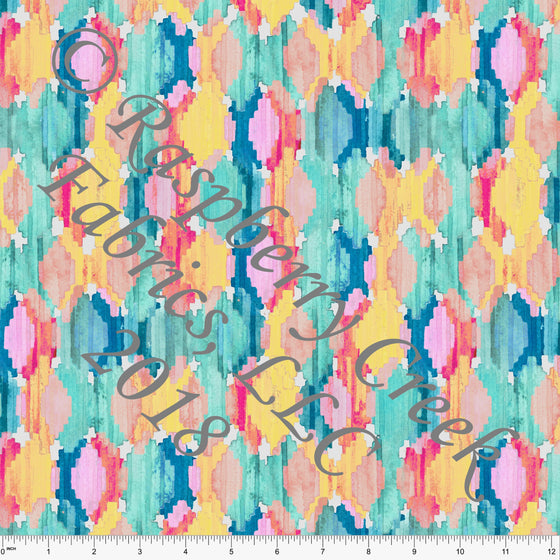 Yellow Coral Pink Blue and Teal Abstract Ikat 4 Way Stretch MATTE SWIM Knit Fabric, Club Fabrics