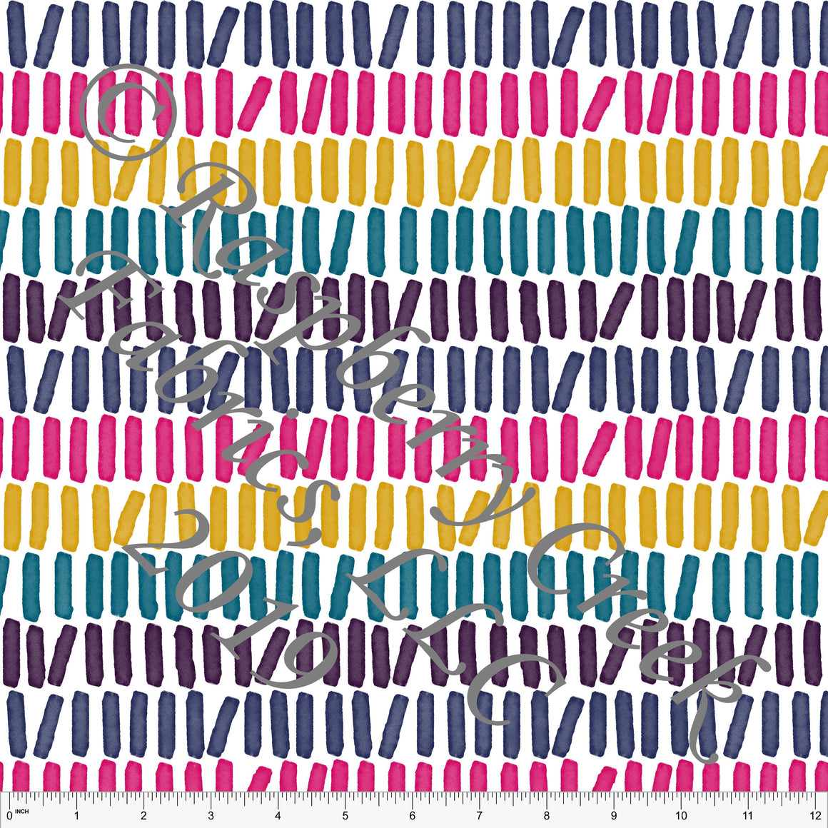 Fuchsia Mustard Teal Navy and Eggplant Vertical Brush Stroke Stripes By Brittney Laidlaw for Club Fabrics - Raspberry Creek Fabrics