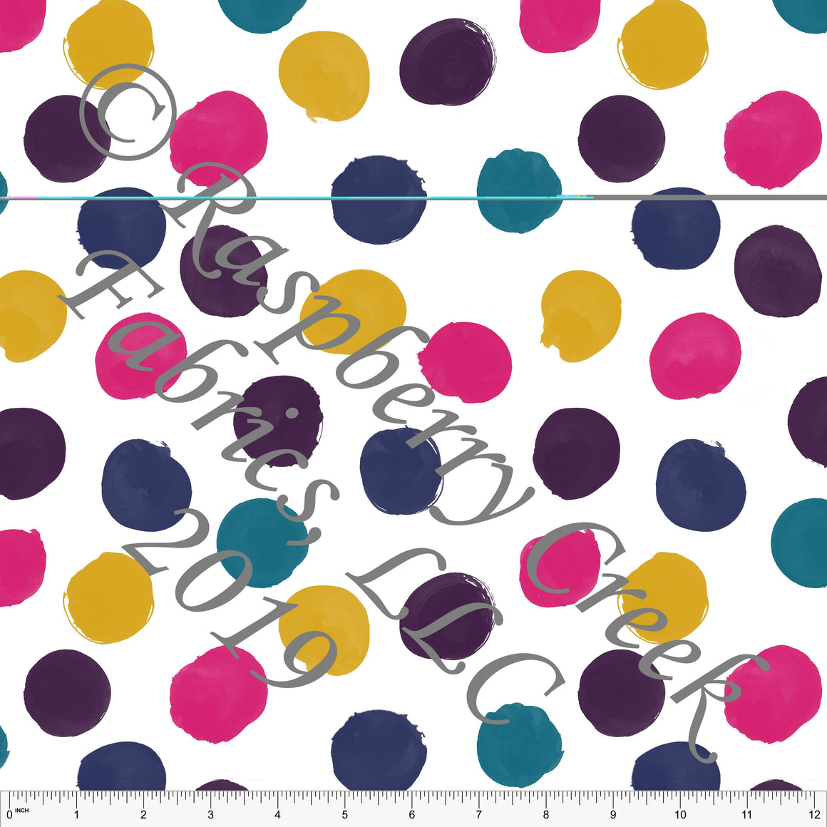 Fuchsia Mustard Teal Navy and Eggplant Large Polka Dots By Brittney Laidlaw for Club Fabrics - Raspberry Creek Fabrics