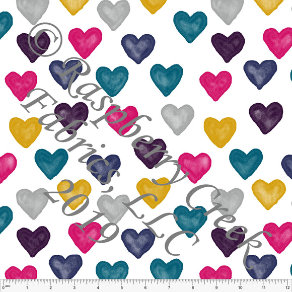 Fuchsia Mustard Teal Navy and Eggplant Large Hearts By Brittney Laidlaw for Club Fabrics - Raspberry Creek Fabrics