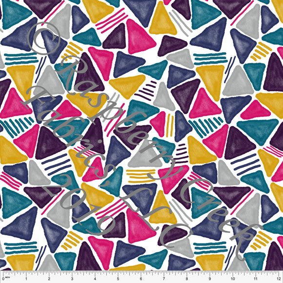 Fuchsia Mustard Teal Navy and Eggplant Tossed Textured Triangles By Brittney Laidlaw for Club Fabrics - Raspberry Creek Fabrics