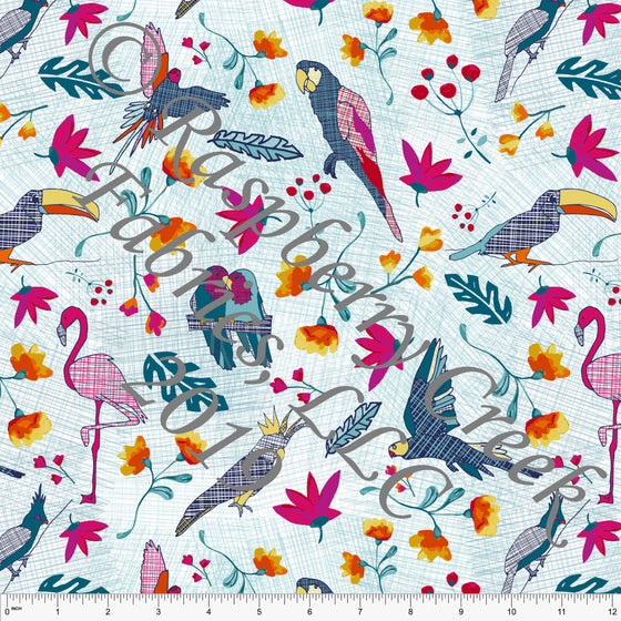 Fuchsia Teal Yellow Orange Mint and Navy Jungle Birds 4 Way Stretch Jersey Knit Fabric, Jungle Animals by Elise Peterson for Club Fabrics - Raspberry Creek Fabrics