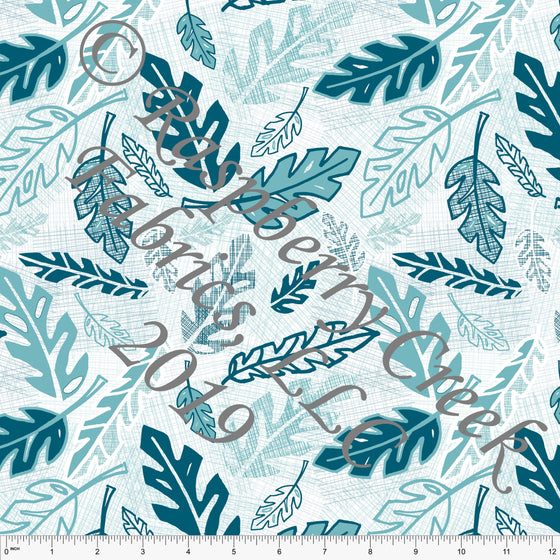 Tonal Teal and Mint Jungle Leaves 4 Way Stretch Jersey Knit Fabric, Jungle Animals by Elise Peterson for Club Fabrics