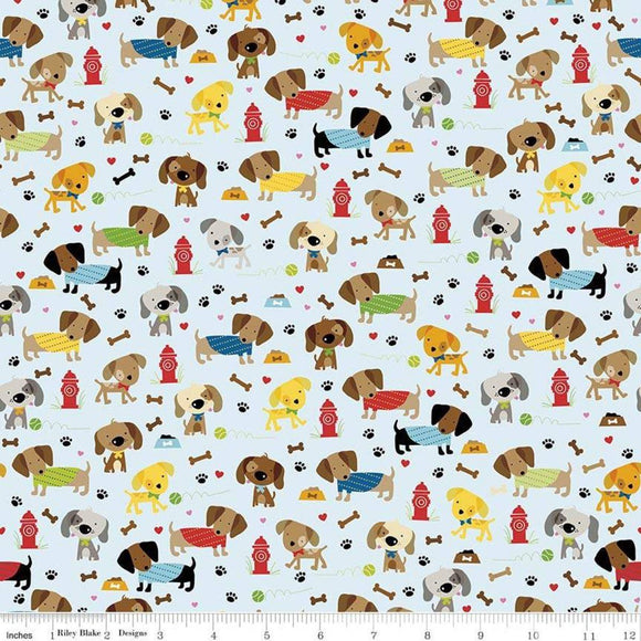 Light Blue Green Red Yellow and Tan Rover Dog Park Jersey Knit Fabric by Riley Blake Designs, 1 Yard in Blue - Raspberry Creek Fabrics