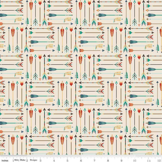Cream Rust Orange Teal and Red Adventure Arrow Jersey Knit Fabric by Riley Blake Designs in Cream - Raspberry Creek Fabrics