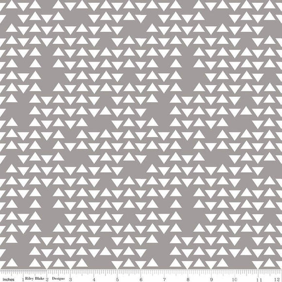 Grey and White Geometric Triangle Jersey Knit Fabric, By Simple Simon and Company For Riley Blake Designs, 1 Yard Jersey KNIT