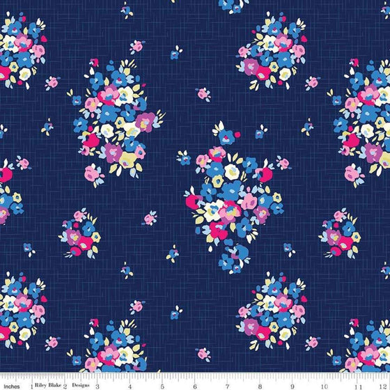 Navy Pink Yellow Plum and White Floral Jersey Knit Fabric, Designer Knits by Christopher Thompson For Riley Blake, Blue Carolina in Navy, 1 Yard - Raspberry Creek Fabrics