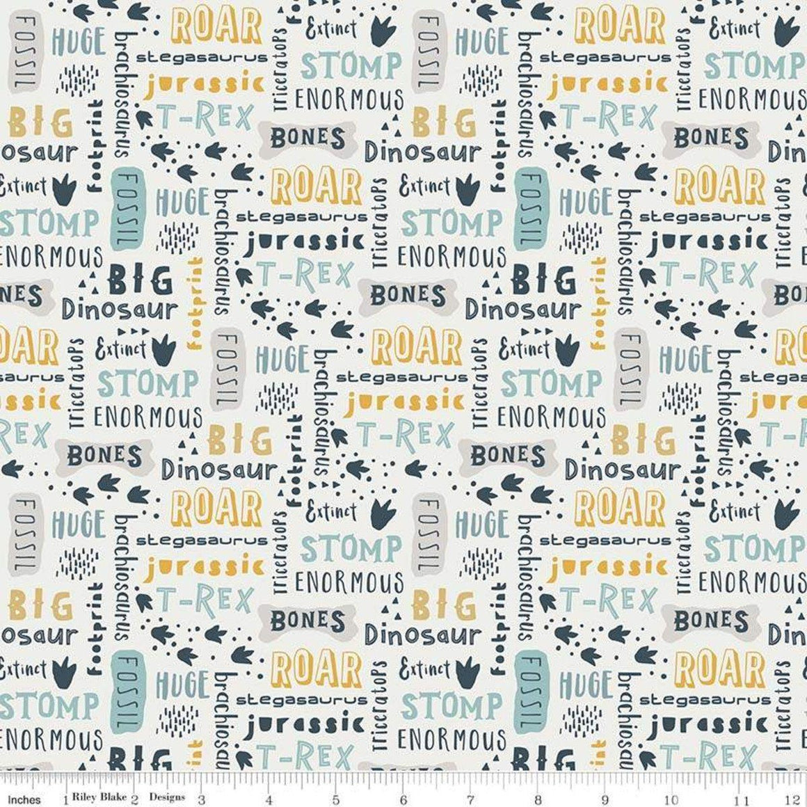 Cream Grey Mustard and Blue Dinosaur Fossil Words Jersey Knit, Fossil Rim By Deena Rutter for Riley Blake Designs - Raspberry Creek Fabrics