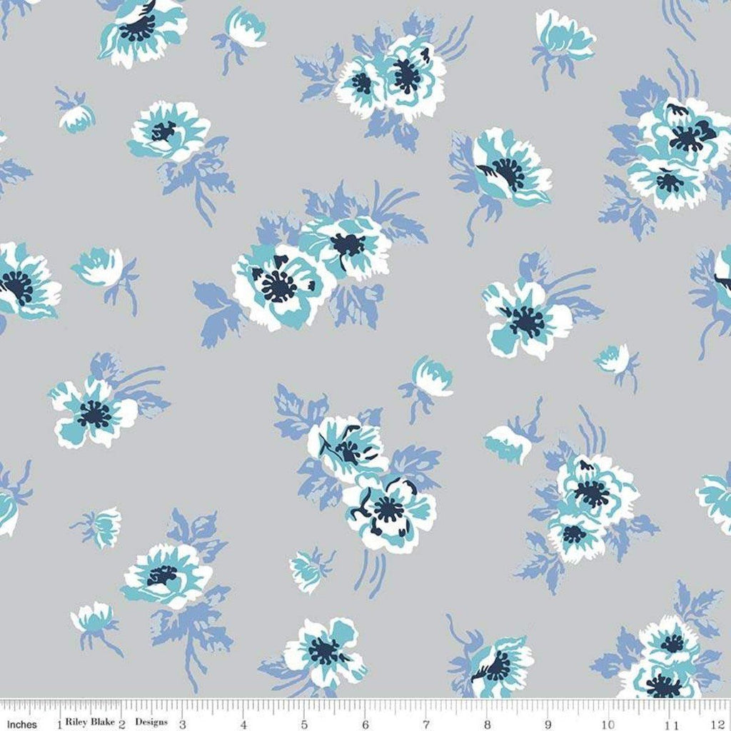 Grey Periwinkle Aqua Navy and White Floral Jersey Knit Fabric, Derby Day by Melissa Mortenson For Riley Blake - Raspberry Creek Fabrics
