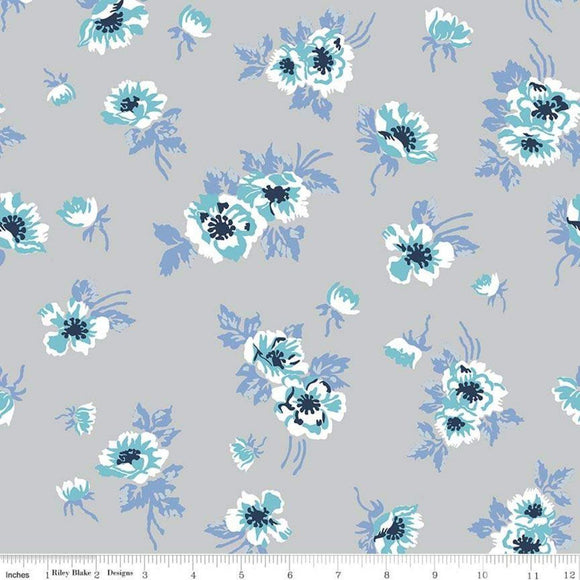 Grey Periwinkle Aqua Navy and White Floral Jersey Knit Fabric, Derby Day by Melissa Mortenson For Riley Blake, 1 Yard - Raspberry Creek Fabrics
