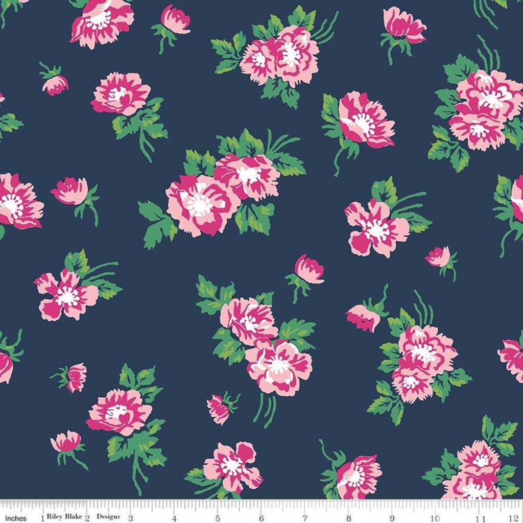 Navy Pink Fuchsia Kelly Green and White Floral Jersey Knit Fabric, Derby Day by Melissa Mortenson For Riley Blake, 1 Yard - Raspberry Creek Fabrics